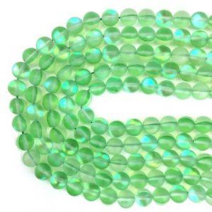Verre sirène pierre de lune synthétique vert mat AB #46